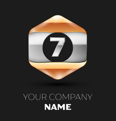 Silver number sevenlogo in silver-golden hexagonal vector