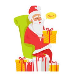 Sitting santa claus among big colourful presents vector