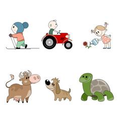 six children characters vector image