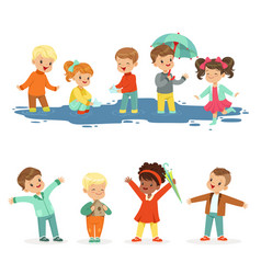 smiling little kids playing on puddles set for vector image