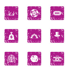 Speculate house icons set grunge style vector