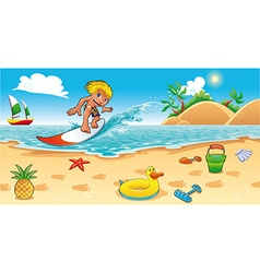 Surfing in sea vector