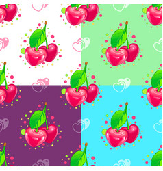 Sweet hearts cherry couple pattern vector