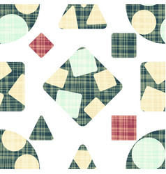 Textiles with geometric shapes blue red and vector