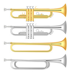 trumpet icon set realistic style vector image