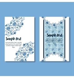 Two design of holiday floral card vector
