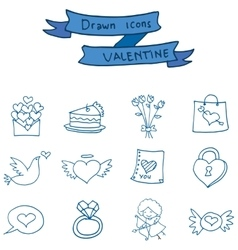 Valentine icons object collection stock vector
