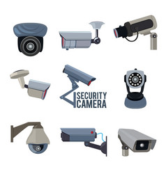 various pictures of security cameras vector image