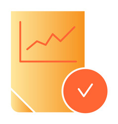 Verified diagram flat icon chart with tick color vector