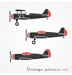 Vintage planes set vector image