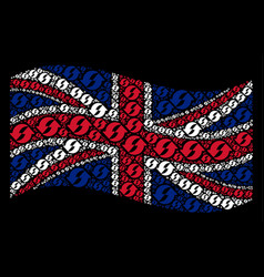 Waving uk flag collage of refresh items vector