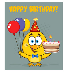 Yellow chick cartoon character wearing a party hat vector