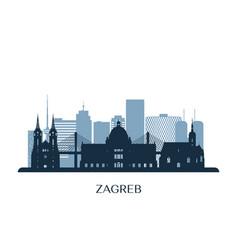Zagreb skyline monochrome silhouette vector