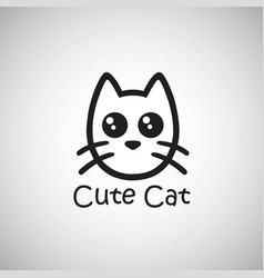 cat cute logo black isolated vector image vector image