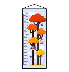 kids height chart with tree vector image