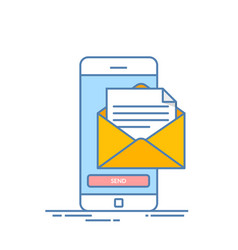 message send on mobile phone email marketing vector image vector image