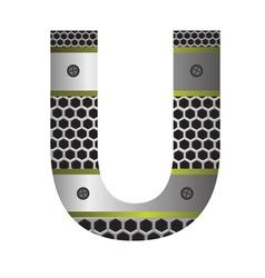 Perforated metal letter u vector