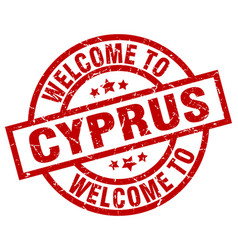 welcome to cyprus red stamp vector image vector image