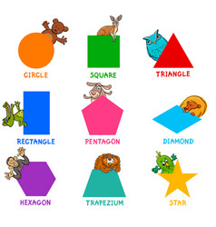 geometric shapes with animal characters vector image vector image
