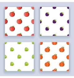 Icons set flat design fruit seamless pattern vector image