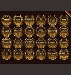 premium quality retro vintage golden labels vector image