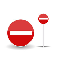 Prohibiting travel round red road sign with white vector