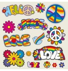 Retro hippie patches emblems vector image vector image