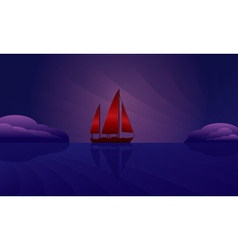 Sailing ship on the night skyline vector
