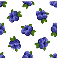 seamless pattern with cartoon bilberries vector image vector image