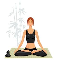 young woman doing yoga vector image
