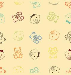 baby girl baby boy and teddy bear seamless retro vector image