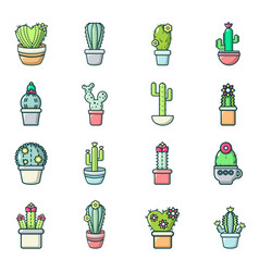 cactus flower icons set cartoon style vector image