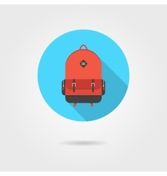 red backpack in blue circle with shadow vector image vector image