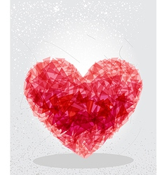Red heart geometric shape vector image vector image