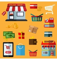 Shopping and retail flat icons vector