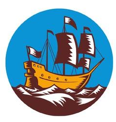 galleon tall ship sailing the sea vector image vector image