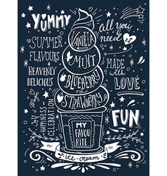 Hand drawn print with ice cream and lettering vector image