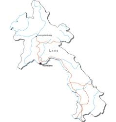 Laos Black White Map vector image vector image