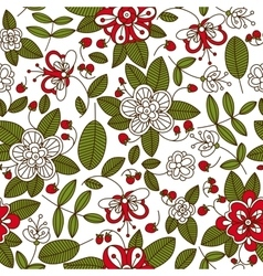 Strawberry fruits and plants seamless pattern vector image