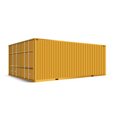 3d perspective yellow cargo container shipping vector