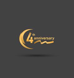 4 years anniversary logotype with double swoosh vector