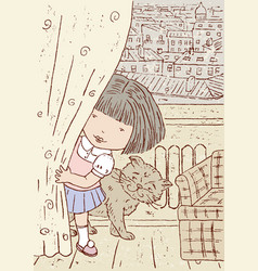 A little girl playing hide and seek at her home vector
