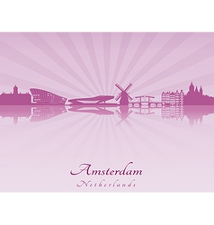 Amsterdam skyline in radiant orchid vector