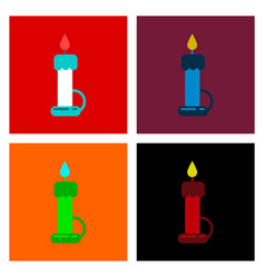 Assembly flat icons candle vector