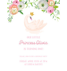 babirthday invitation card with swan flowers vector image