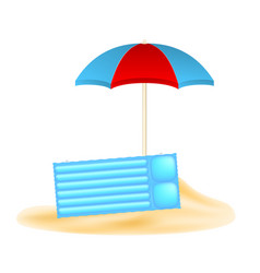 Beach concept with beach umbrella and air mattress vector