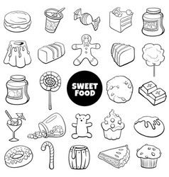 Black and white cartoon sweet food objects set vector