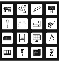 Building equipment icons set simple style vector