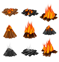 Campfire icon set realistic style vector