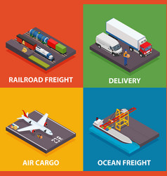 cargo transportation including ocean and railroad vector image